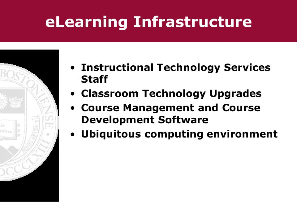 eLearning Infrastructure Instructional Technology Services Staff Classroom Technology Upgrades Course Management and Course Development Software Ubiquitous computing environment