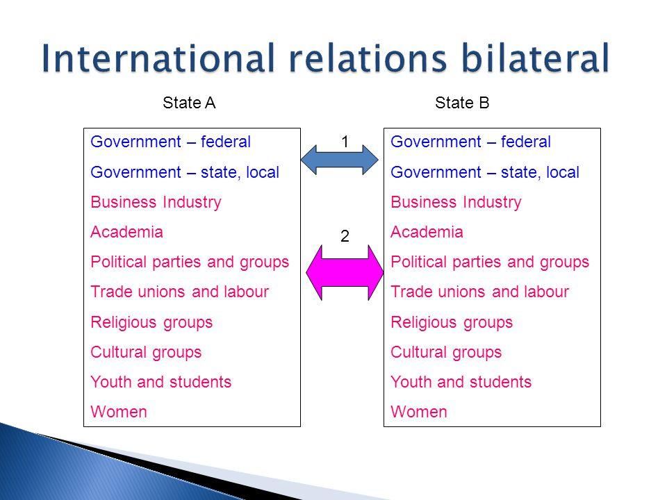 Government – federal Government – state, local Business Industry Academia Political parties and groups Trade unions and labour Religious groups Cultural groups Youth and students Women Intergovernmental organizations Informal groups of states Non-Governmental organizations Transnational coalitions 1 2