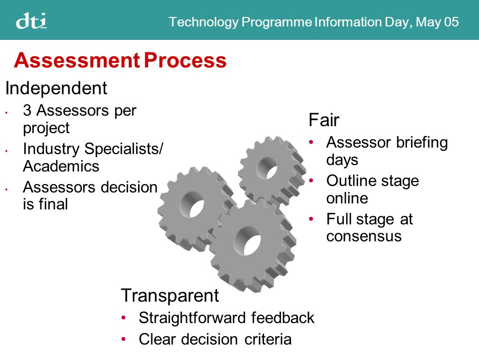 Technology Programme Information Day, May 05 Assessment Process Independent 3 Assessors per project Industry Specialists/ Academics Assessors decision is final Fair Assessor briefing days Outline stage online Full stage at consensus Transparent Straightforward feedback Clear decision criteria