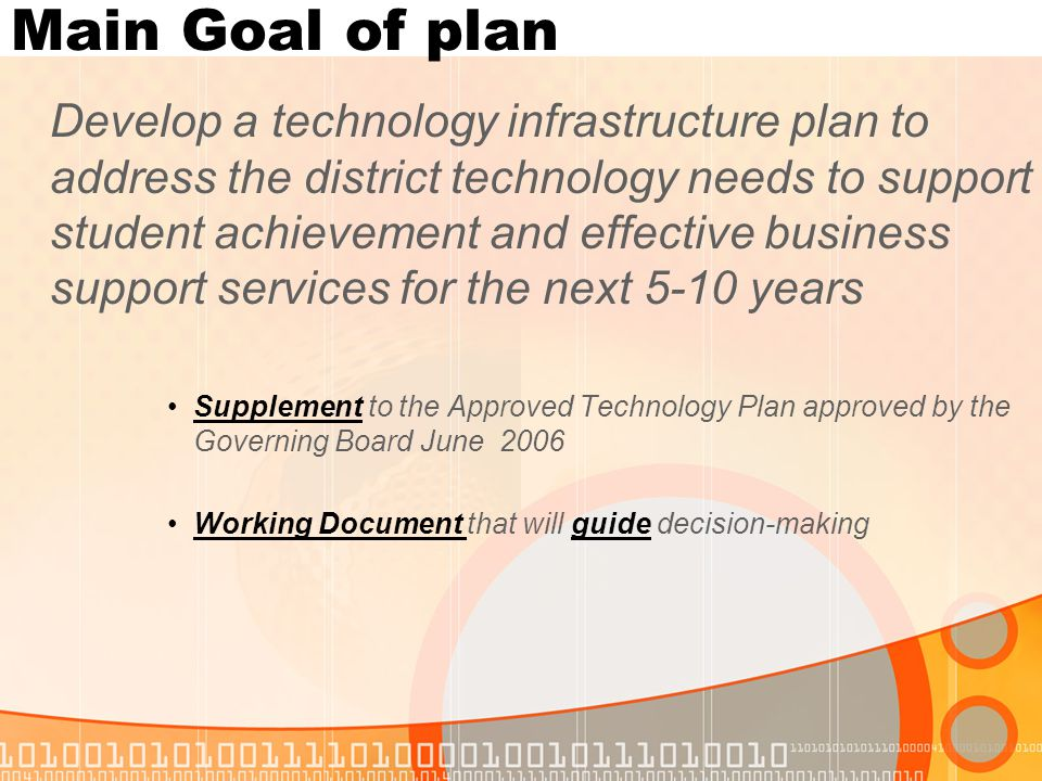 Executive Summary Key items about plan To support long-term decisions made relating to technology infrastructure Supports District Educational Technology Plan An understanding and knowledge of what infrastructure exists AND what is needed for the future