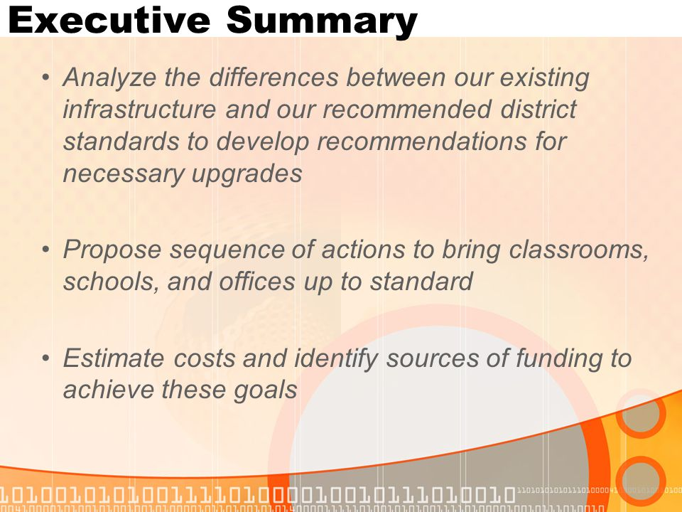 Executive Summary Potential funding sources: Bond* E-Rate Building Renewal Other Capital Funds Other Funds to be Determined * guidelines have changed