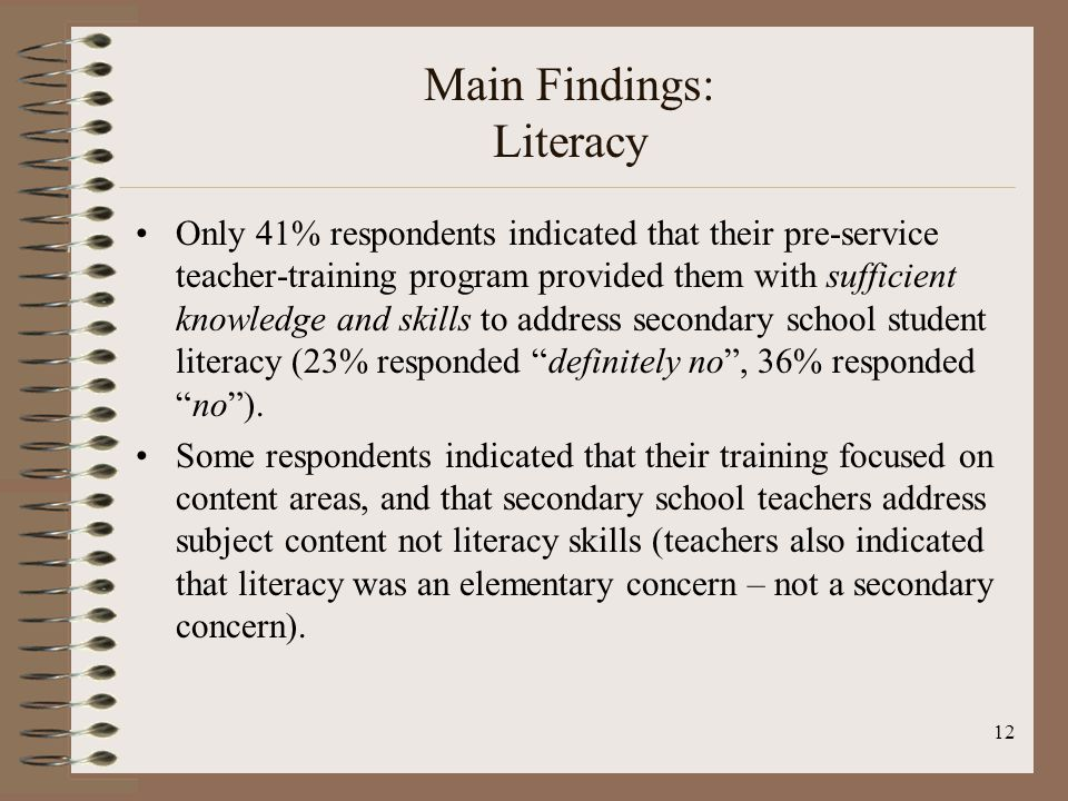 12 Main Findings: Literacy Only 41% respondents indicated that their pre-service teacher-training program provided them with sufficient knowledge and skills to address secondary school student literacy (23% responded definitely no, 36% respondedno).
