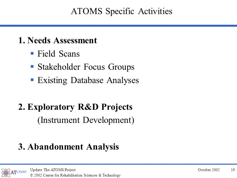 © 2002 Center for Rehabilitation Sciences & Technology October 2002Update: The ATOMS Project18 General ATOMS Project Timeline Year 1-2: Needs assessment & field feedback Year 2-3: Instrument/methodology exploration & development Year 3-5: Pilot ideas Year 5: Propose AT outcomes methods & system
