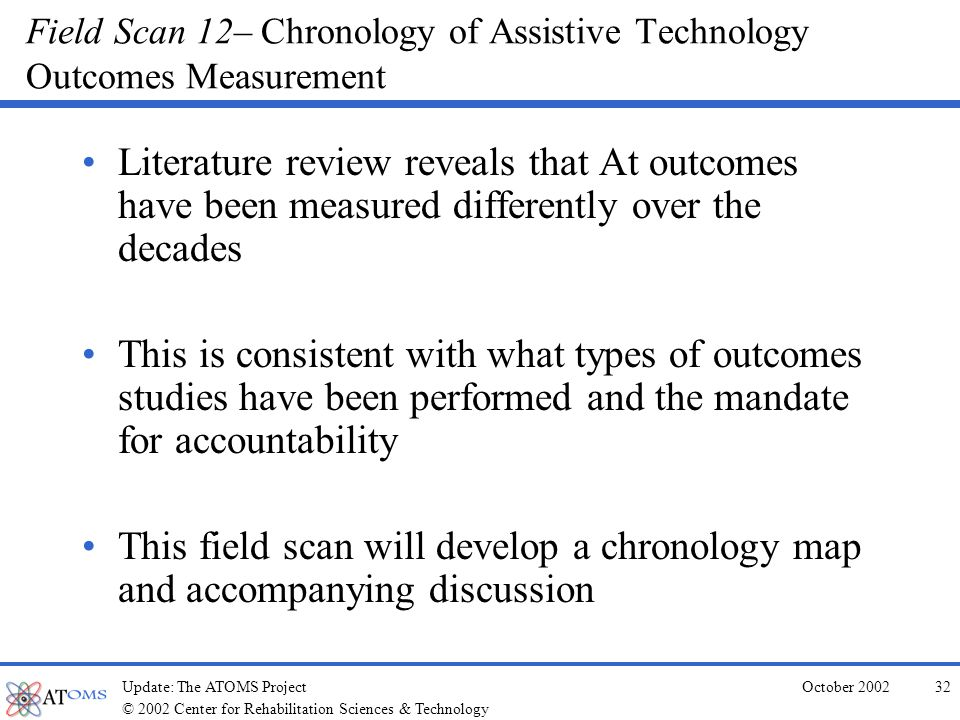 © 2002 Center for Rehabilitation Sciences & Technology October 2002Update: The ATOMS Project31 Field Scan 11– Technology Conference Program Review Last two years of CTG, CSUN, RESNA, and TAM conferences reviewed as fugitive literature.