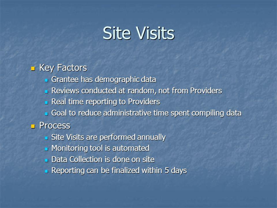 Site Visits Key Factors Key Factors Grantee has demographic data Grantee has demographic data Reviews conducted at random, not from Providers Reviews