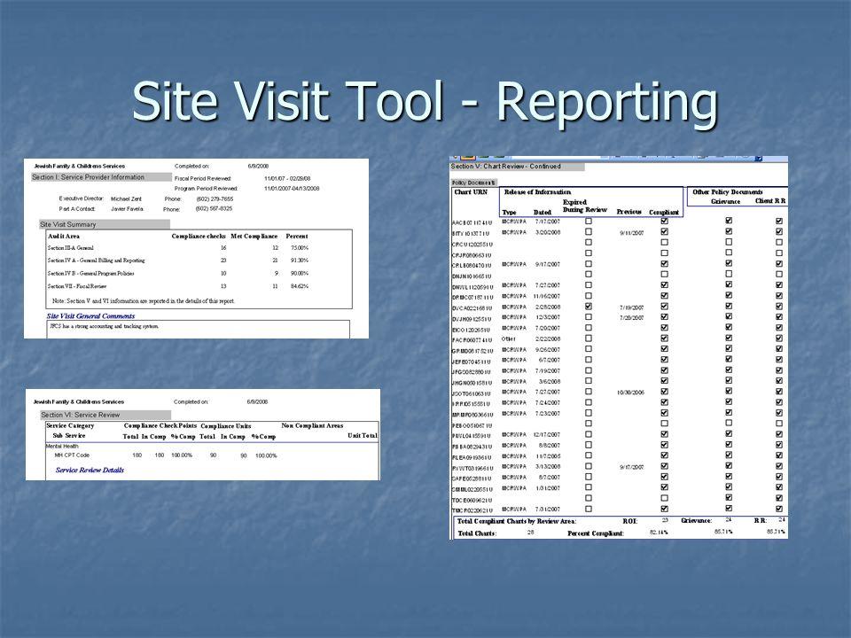 Site Visit Tool - Reporting