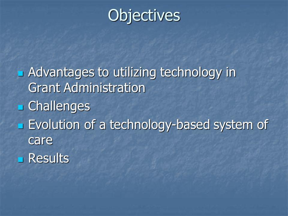 Objectives Advantages to utilizing technology in Grant Administration Advantages to utilizing technology in Grant Administration Challenges Challenges
