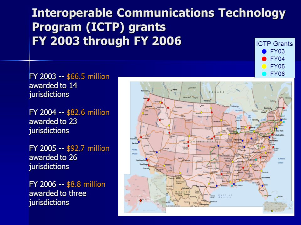 11 Interoperable Communications Technology Program (ICTP) grants FY 2003 through FY 2006 FY03 FY04 FY05 FY06 ICTP Grants FY 2003 -- $66.5 million awarded to 14 jurisdictions FY 2004 -- $82.6 million awarded to 23 jurisdictions FY 2005 -- $92.7 million awarded to 26 jurisdictions FY 2006 -- $8.8 million awarded to three jurisdictions