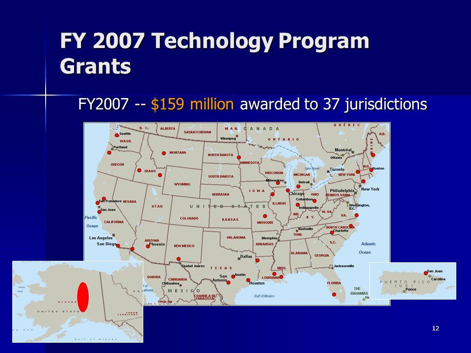 12 FY 2007 Technology Program Grants FY2007 -- $159 million awarded to 37 jurisdictions