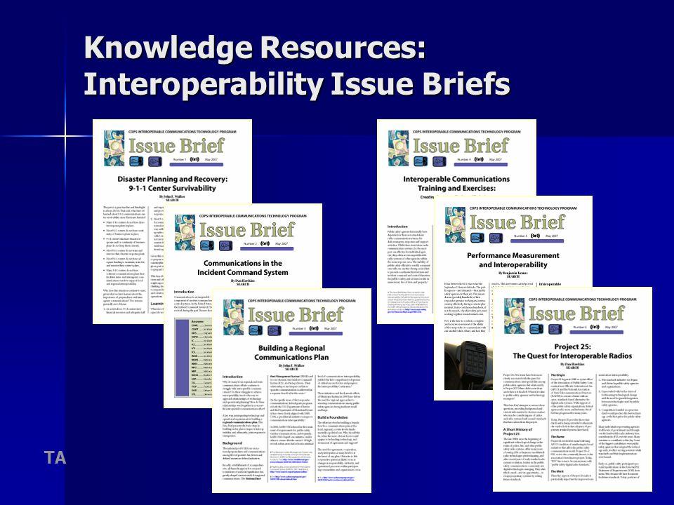 22 Knowledge Resources: Interoperability Issue Briefs TA