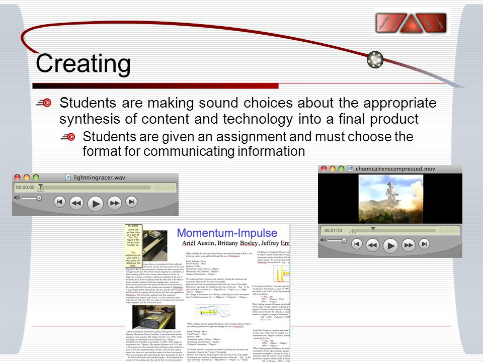 Creating Students are making sound choices about the appropriate synthesis of content and technology into a final product Students are given an assignment and must choose the format for communicating information