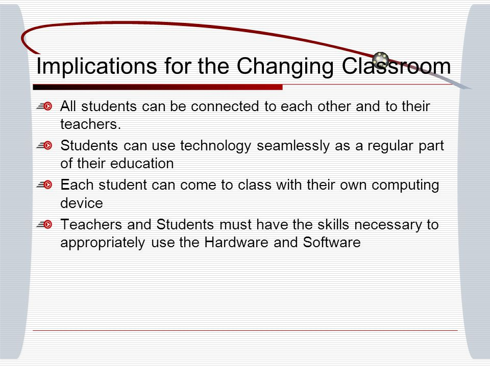 Implications for the Changing Classroom All students can be connected to each other and to their teachers.