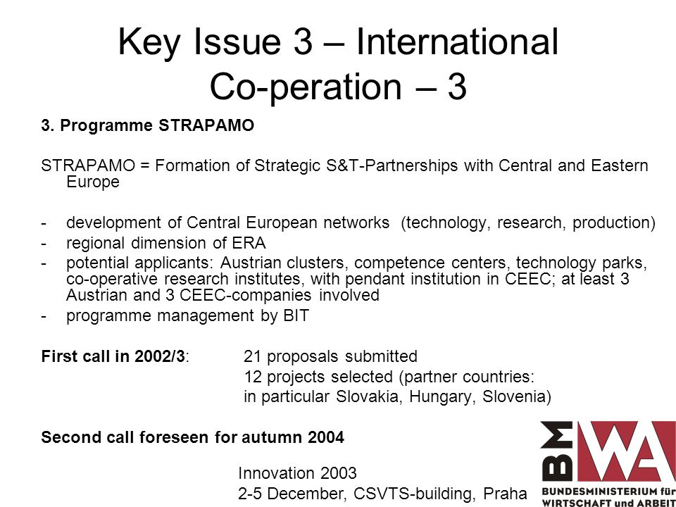 Key Issue 3 – International Co-peration – 3 3.