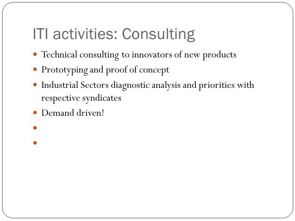 ITI activities: Consulting Technical consulting to innovators of new products Prototyping and proof of concept Industrial Sectors diagnostic analysis and priorities with respective syndicates Demand driven!
