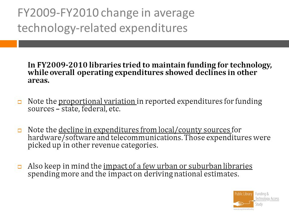 FY2009-FY2010 change in average technology-related expenditures In FY2009-2010 libraries tried to maintain funding for technology, while overall opera