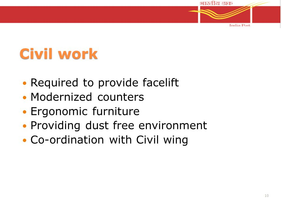 Civil work Required to provide facelift Modernized counters Ergonomic furniture Providing dust free environment Co-ordination with Civil wing 10
