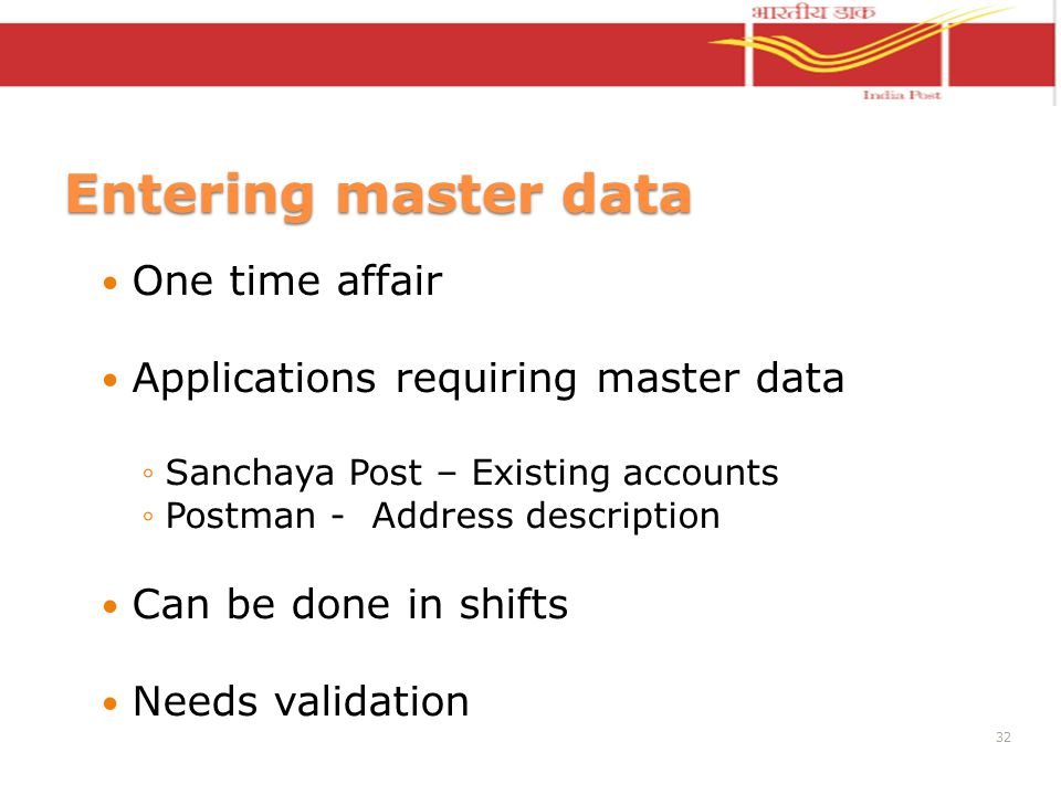 Entering master data One time affair Applications requiring master data Sanchaya Post – Existing accounts Postman - Address description Can be done in shifts Needs validation 32