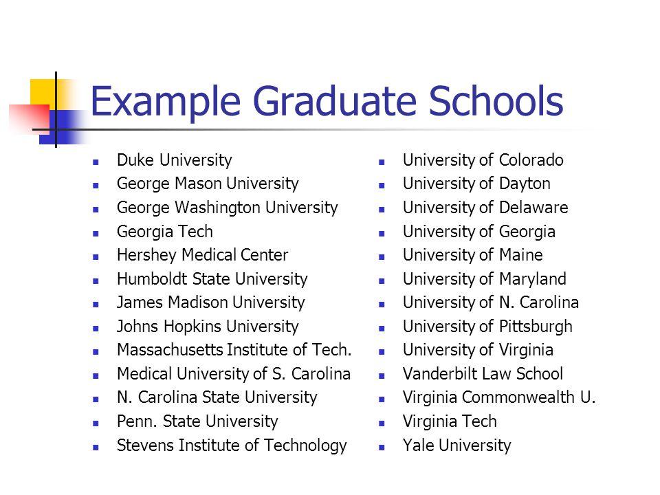 Example Graduate Schools Duke University George Mason University George Washington University Georgia Tech Hershey Medical Center Humboldt State Unive