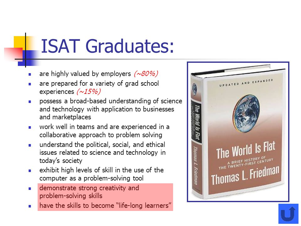 ISAT Graduates: are highly valued by employers (~80%) are prepared for a variety of grad school experiences (~15%) possess a broad-based understanding