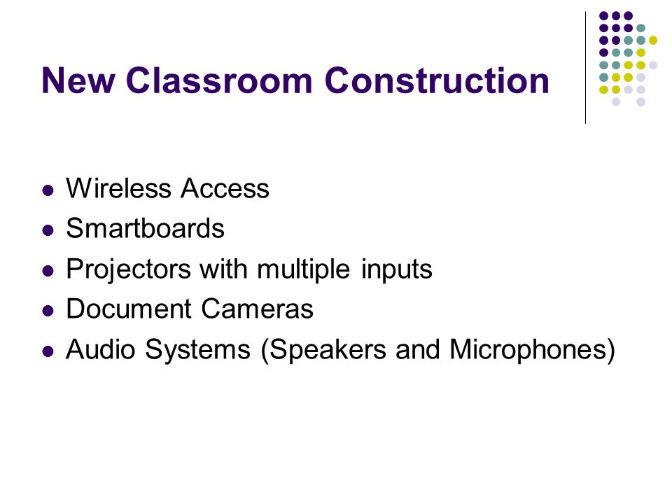 New Classroom Construction Wireless Access Smartboards Projectors with multiple inputs Document Cameras Audio Systems (Speakers and Microphones)