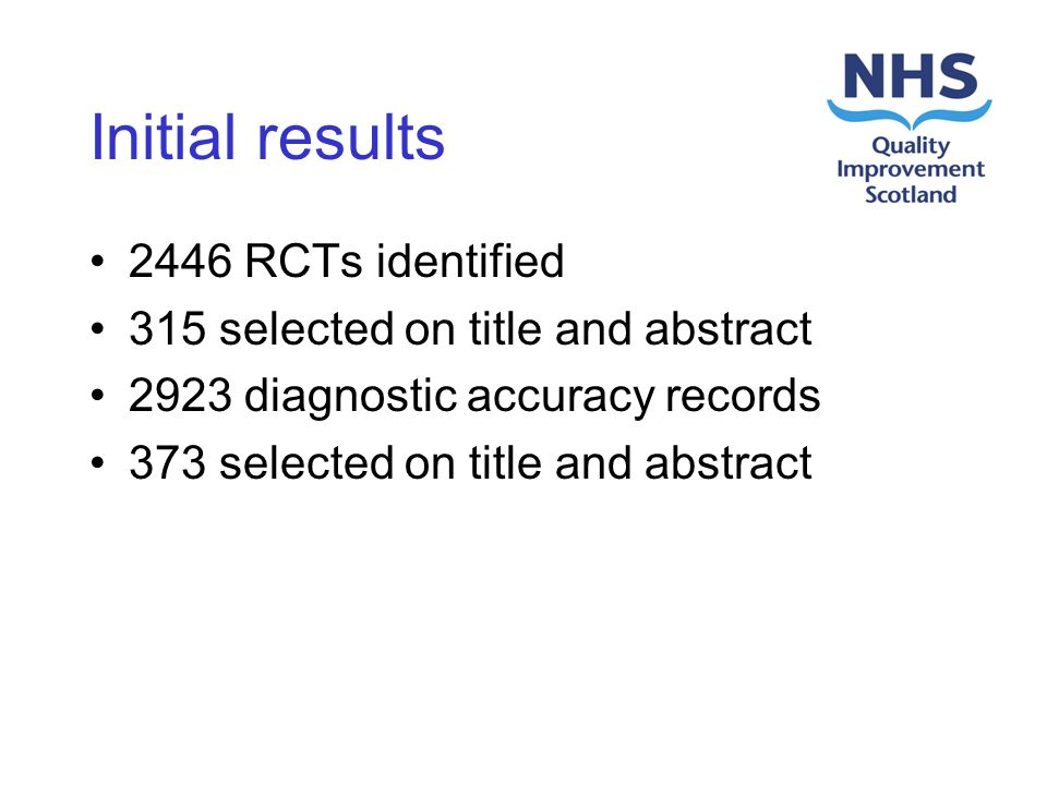 Initial results 2446 RCTs identified 315 selected on title and abstract 2923 diagnostic accuracy records 373 selected on title and abstract