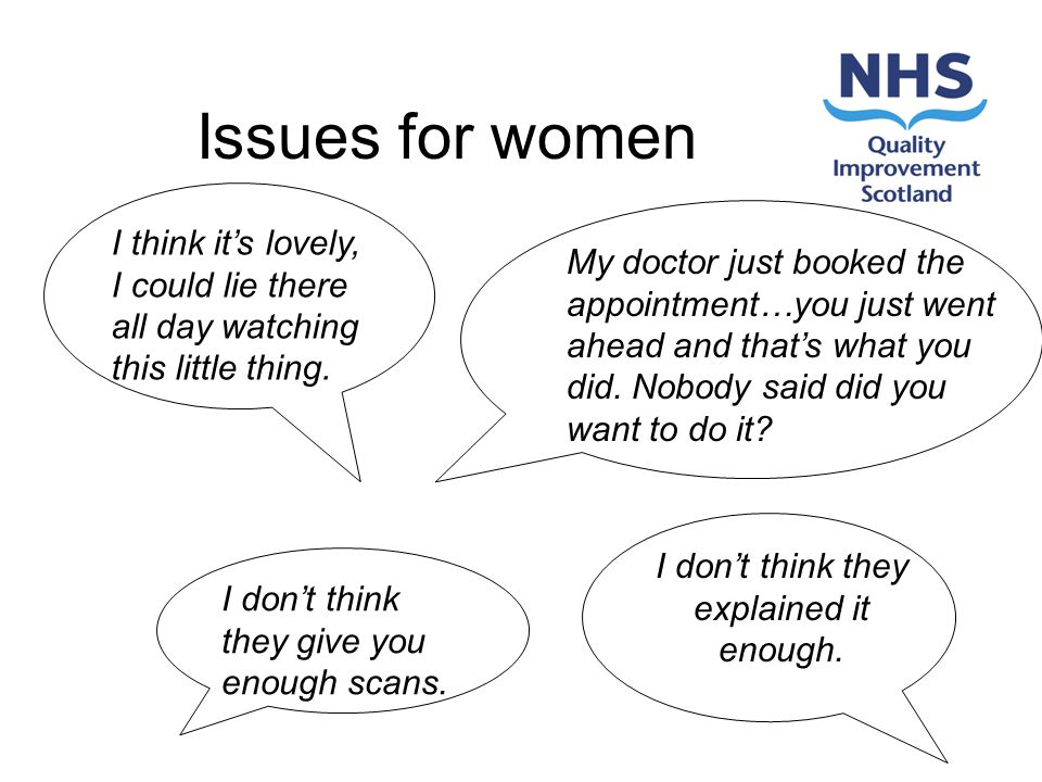 Issues for women I dont think they give you enough scans.