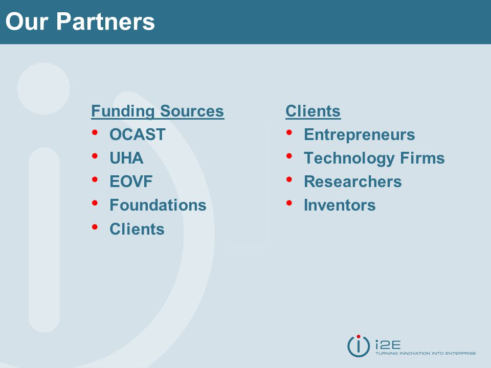 Our Partners Funding Sources OCAST UHA EOVF Foundations Clients Entrepreneurs Technology Firms Researchers Inventors