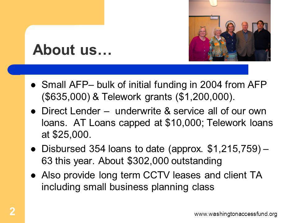 About us… Small AFP– bulk of initial funding in 2004 from AFP ($635,000) & Telework grants ($1,200,000).