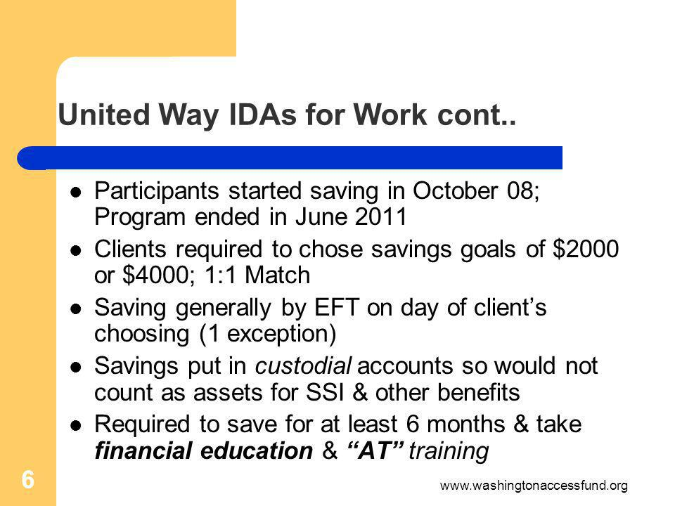 6 United Way IDAs for Work cont..