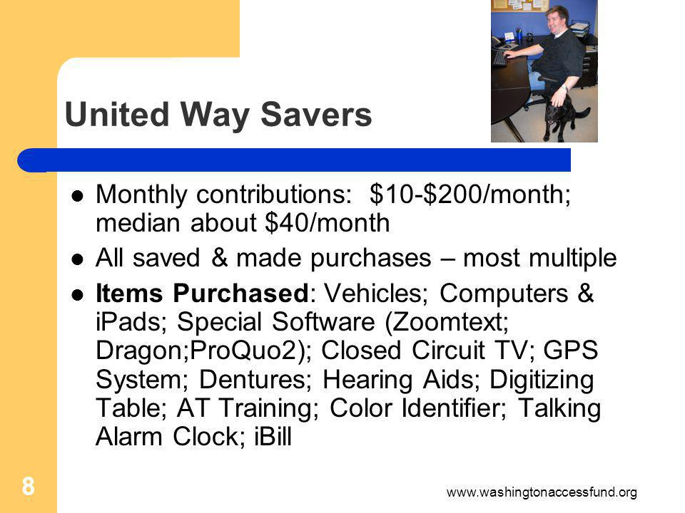 8 Monthly contributions: $10-$200/month; median about $40/month All saved & made purchases – most multiple Items Purchased: Vehicles; Computers & iPads; Special Software (Zoomtext; Dragon;ProQuo2); Closed Circuit TV; GPS System; Dentures; Hearing Aids; Digitizing Table; AT Training; Color Identifier; Talking Alarm Clock; iBill 8 www.washingtonaccessfund.org