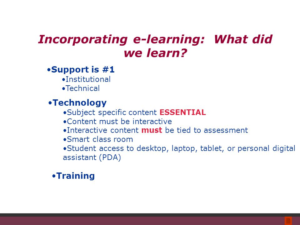 Incorporating e-learning: What did we learn.