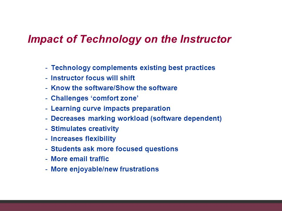 Impact of Technology on the Instructor -Technology complements existing best practices -Instructor focus will shift -Know the software/Show the software -Challenges comfort zone -Learning curve impacts preparation -Decreases marking workload (software dependent) -Stimulates creativity -Increases flexibility -Students ask more focused questions -More email traffic -More enjoyable/new frustrations