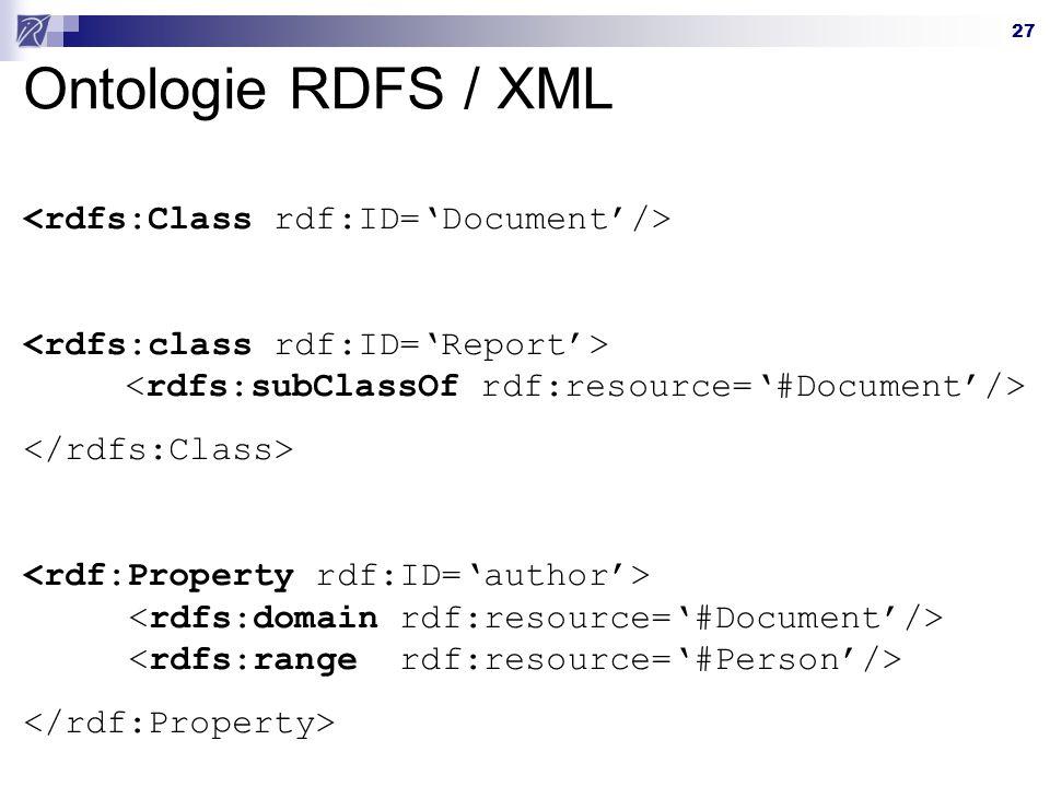27 Ontologie RDFS / XML