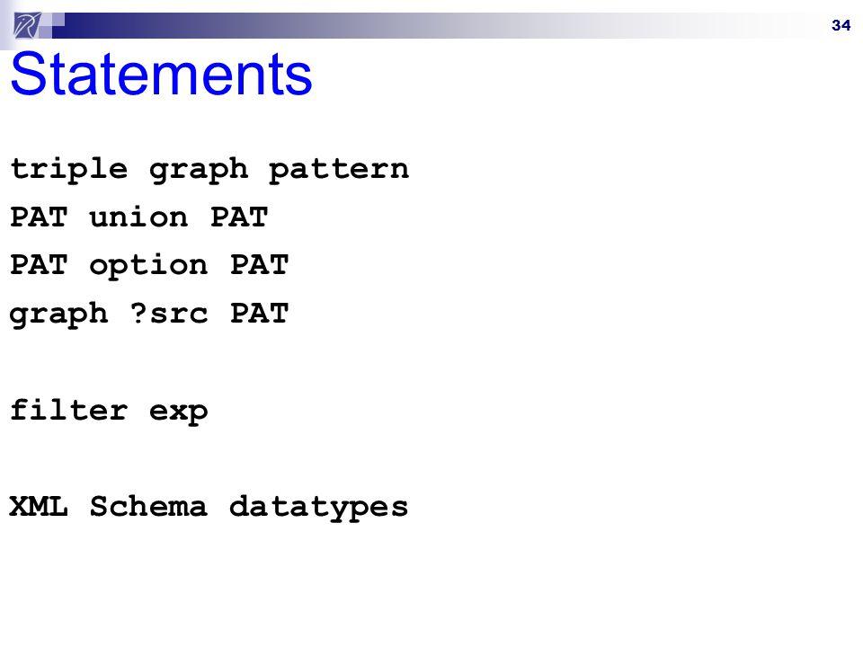 34 Statements triple graph pattern PAT union PAT PAT option PAT graph ?src PAT filter exp XML Schema datatypes