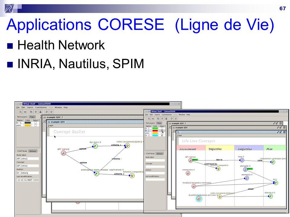 67 Applications CORESE (Ligne de Vie) Health Network INRIA, Nautilus, SPIM