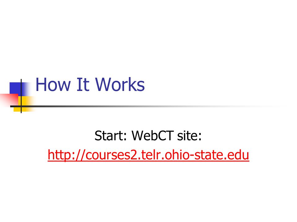 How It Works Start: WebCT site: