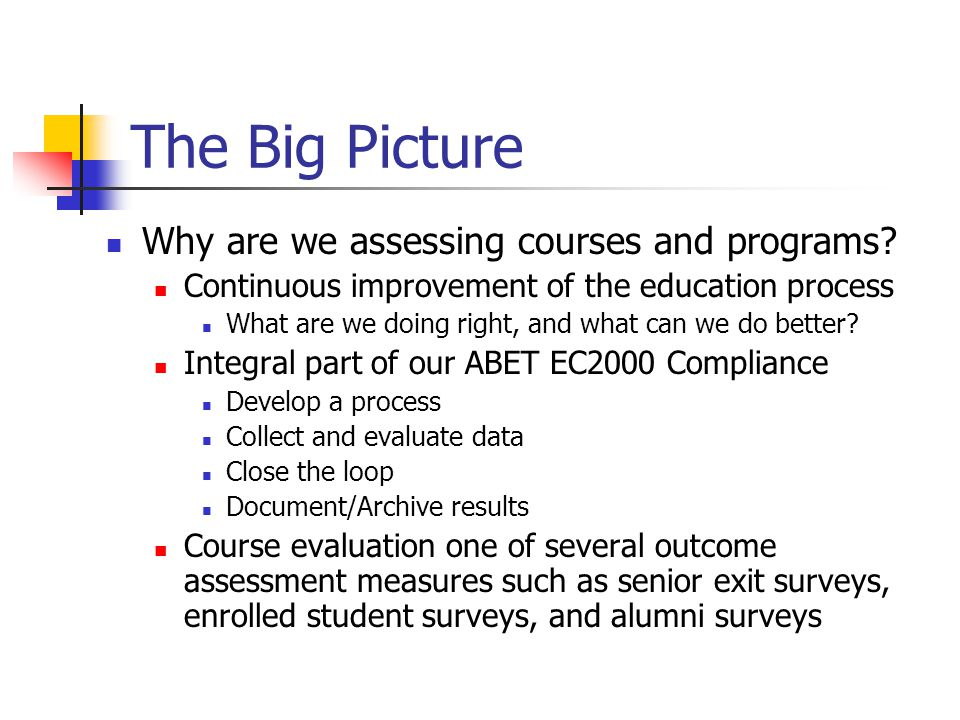 The Big Picture Why are we assessing courses and programs.