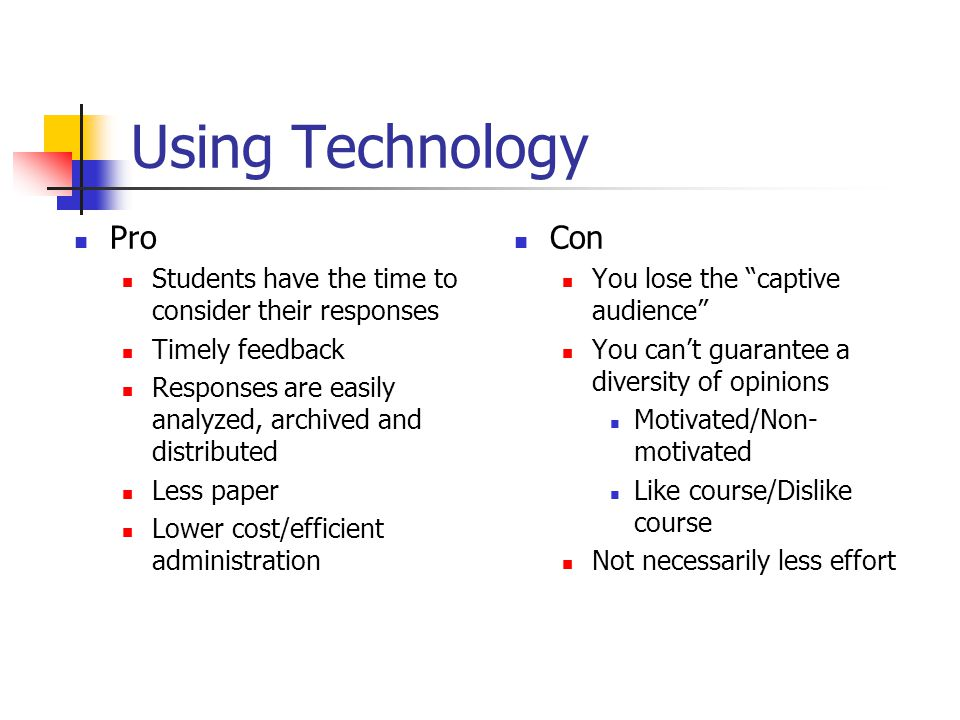 Using Technology Pro Students have the time to consider their responses Timely feedback Responses are easily analyzed, archived and distributed Less paper Lower cost/efficient administration Con You lose the captive audience You cant guarantee a diversity of opinions Motivated/Non- motivated Like course/Dislike course Not necessarily less effort