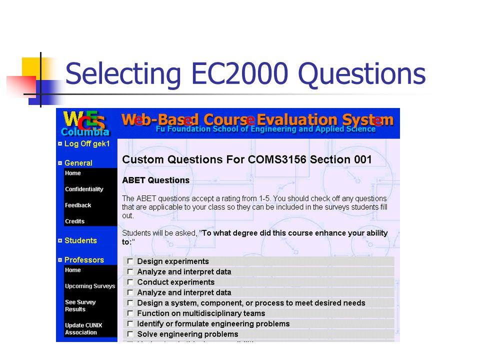 Selecting EC2000 Questions