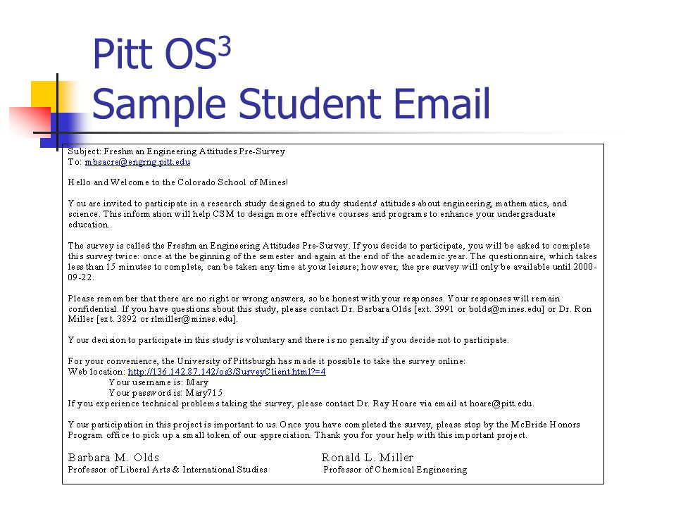 Pitt OS 3 Sample Student Email