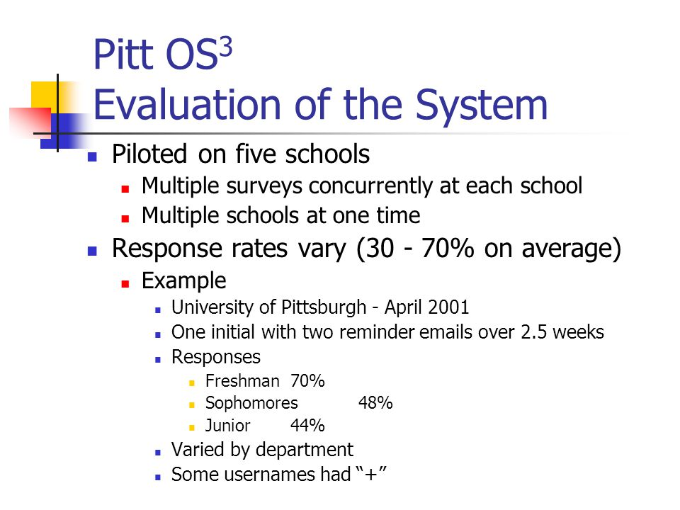 Pitt OS 3 Evaluation of the System Piloted on five schools Multiple surveys concurrently at each school Multiple schools at one time Response rates vary ( % on average) Example University of Pittsburgh - April 2001 One initial with two reminder  s over 2.5 weeks Responses Freshman70% Sophomores48% Junior44% Varied by department Some usernames had +