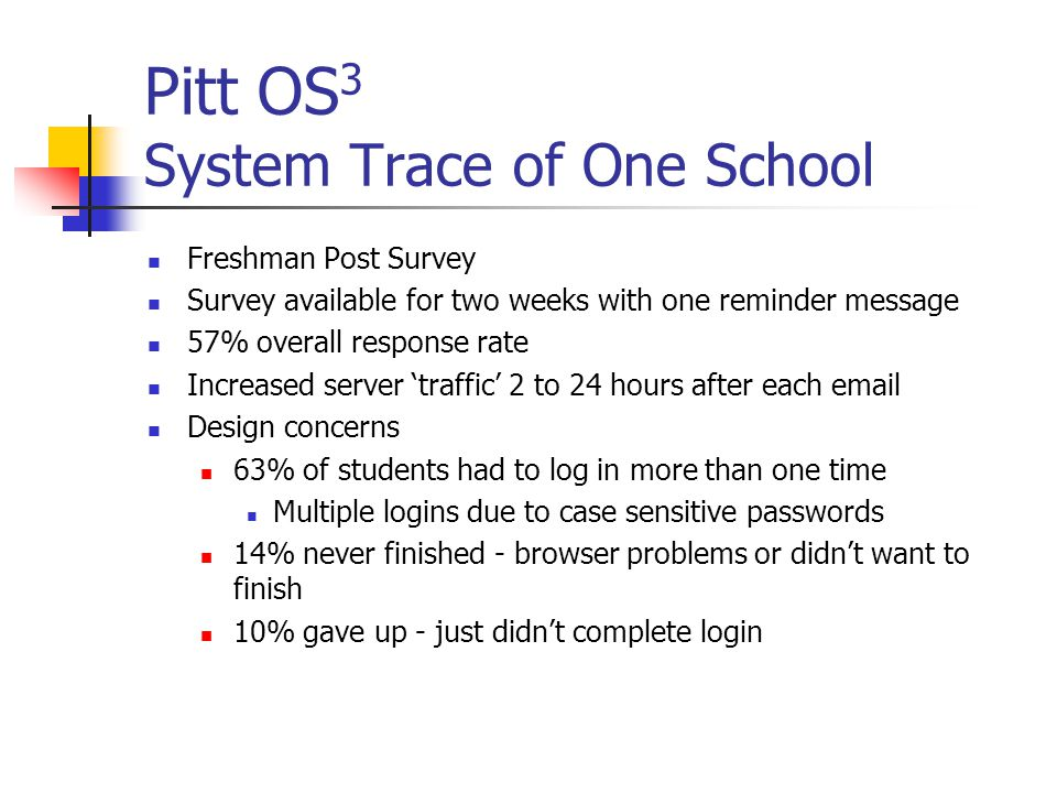 Pitt OS 3 System Trace of One School Freshman Post Survey Survey available for two weeks with one reminder message 57% overall response rate Increased server traffic 2 to 24 hours after each  Design concerns 63% of students had to log in more than one time Multiple logins due to case sensitive passwords 14% never finished - browser problems or didnt want to finish 10% gave up - just didnt complete login