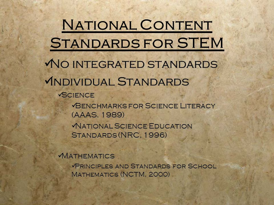 National Content Standards for STEM No integrated standards Individual Standards Science Benchmarks for Science Literacy (AAAS. 1989) National Science