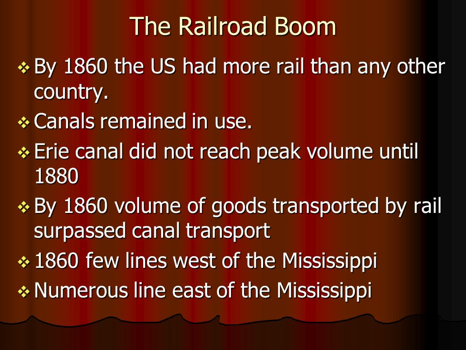 The Railroad Boom By 1860 the US had more rail than any other country. By 1860 the US had more rail than any other country. Canals remained in use. Ca