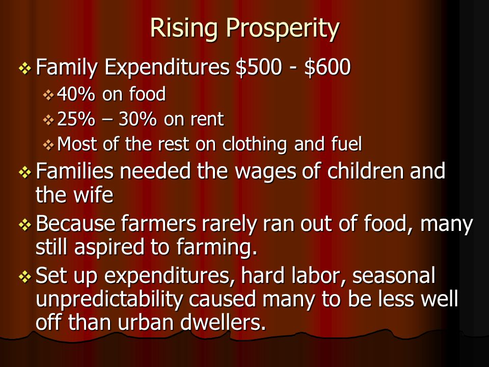 Rising Prosperity Family Expenditures $500 - $600 Family Expenditures $500 - $600 40% on food 40% on food 25% – 30% on rent 25% – 30% on rent Most of the rest on clothing and fuel Most of the rest on clothing and fuel Families needed the wages of children and the wife Families needed the wages of children and the wife Because farmers rarely ran out of food, many still aspired to farming.