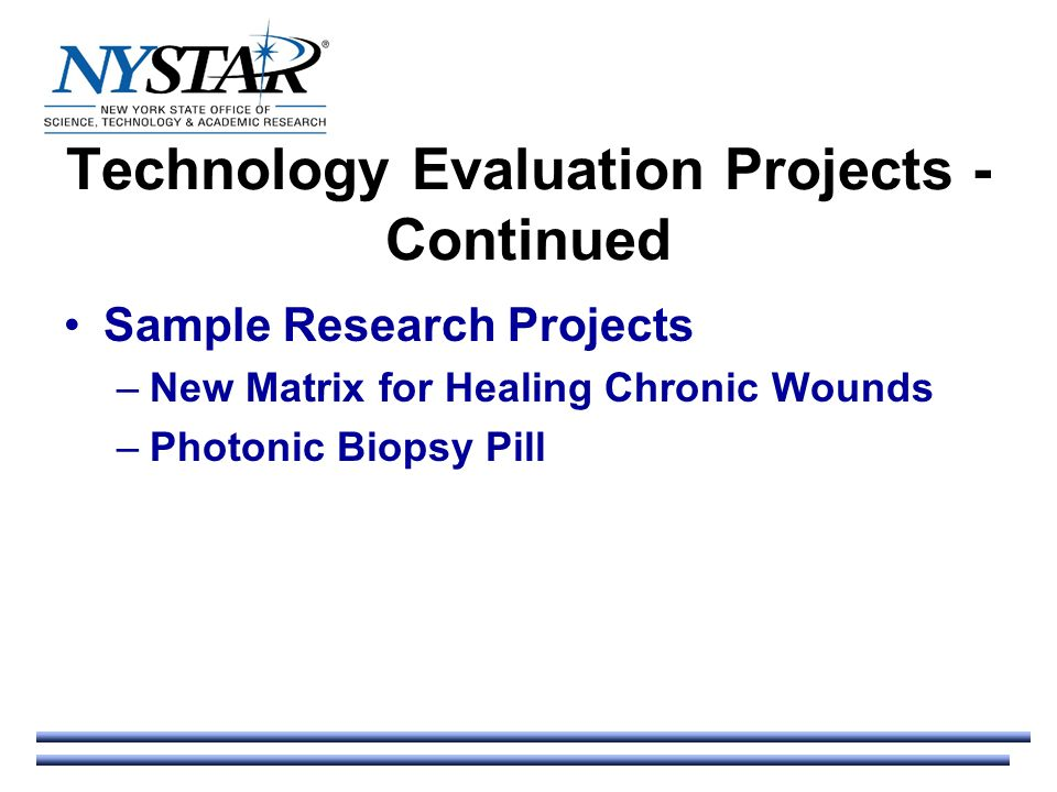 Technology Evaluation Projects - Continued Sample Research Projects –New Matrix for Healing Chronic Wounds –Photonic Biopsy Pill