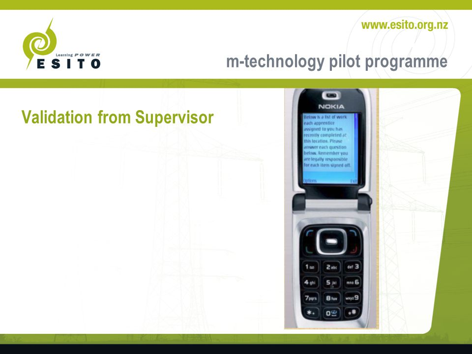 m-technology pilot programme Validation from Supervisor