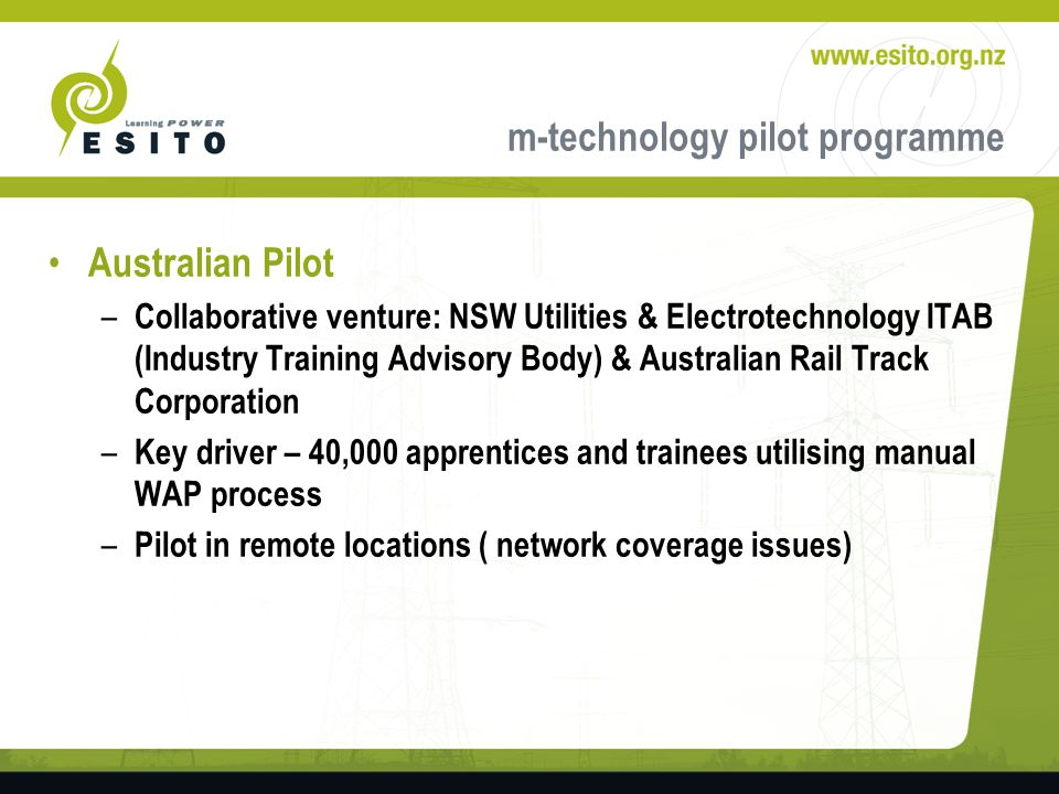 m-technology pilot programme Scan TAG to identify work completed at site and transmit Information.