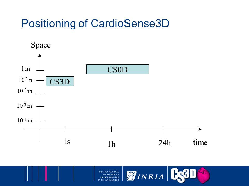 Positioning of CardioSense3D time Space 1s 1h 24h 10 -2 m 10 -4 m 10 -3 m 10 -1 m 1 m1 m CS3D CS0D