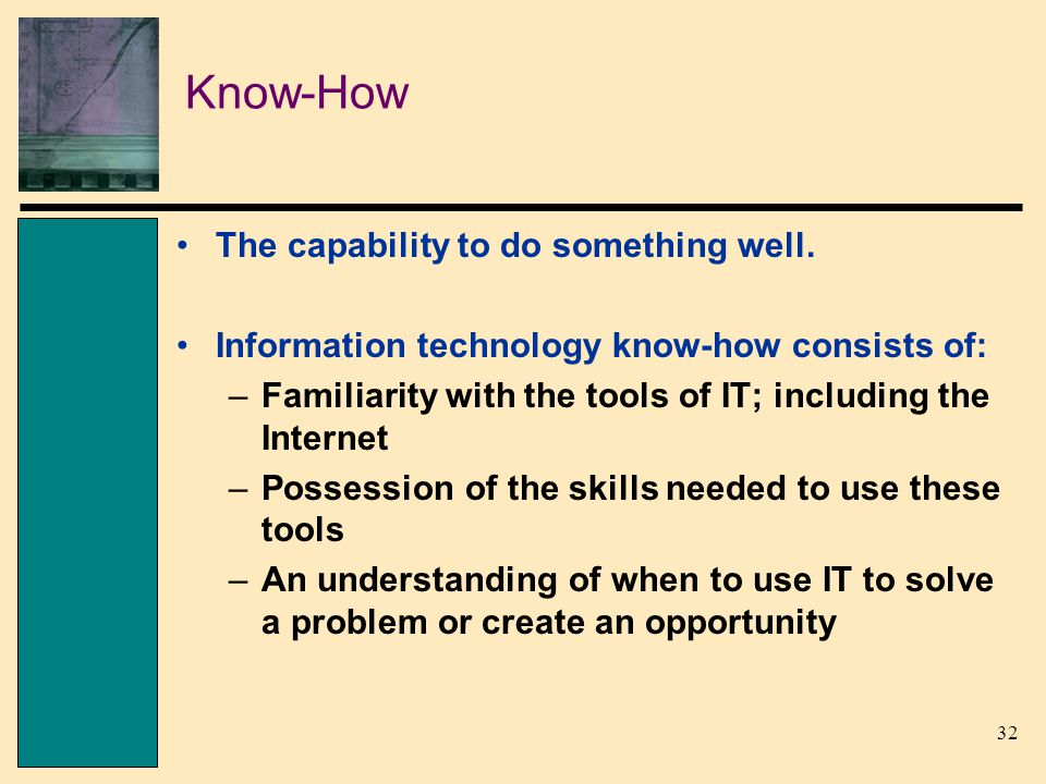 32 Know-How The capability to do something well.